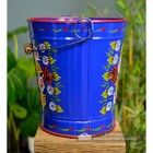 Side View of the XXL Hand Painted Blue Log Bucket