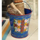 Hand Painted Log Bucket XXL Finished in Blue