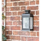 """Traditional """"York"""" Aged Copper Wall Lantern in Situ on the Front of a House"""