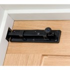 "4"" Universal Straight Bolt  Black Fitted to Door"