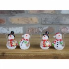 Set of Four Snowman Name card holder