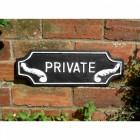 Lozenge Shaped Private Sign in Cast Iron
