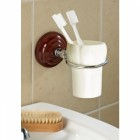 Rosewood Effect Toothbrush Holder brass