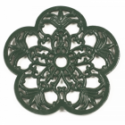 Cast Iron Flower Petal Trivet in Green