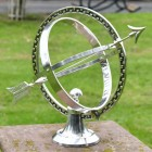 """""""Almwick Manor"""" Solid Brass Armillary Sundial Finsished in an Antique Silver Finish"""