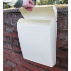 """Alpine Peaks"" Cream Contemporary Post Box"