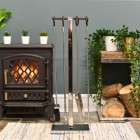 Contemporary Fireside Companion Set Next to the Fireplace