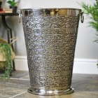 """""""Bennett Hall"""" Antique Brass Large Umbrella Stand Finished in Antique Nickel"""