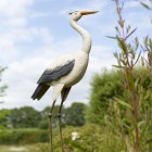 """""""Great Egret"""" Hand Painted Heron Sculpture Finished in White and Grey"""