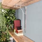 'Kepler' Polished Aluminium Modern Wall Bracket Holding a Wooden Shelf