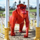 "Red ""Lord Greystoke"" Stunning Silverback Gorilla Inside a Gazebo"