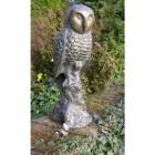 Aged Bronze Sitting Owl Garden Sculpture