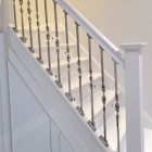 Alessi Single Bold Twist Stainless Steel Stair Spindle Installed On Staircase