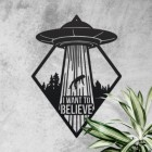 """""""I Want to Believe"""" Alien Wall Art on a Rustic Wall"""