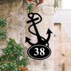 Bespoke Anchor Iron House Number Sign in Situ
