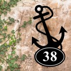 Anchor Iron House Number Sign in Situ on a Rustic Wall