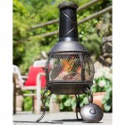 Traditional Antique Bronze Finish Chimenea Outside in the Garden