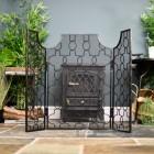Antique Bronze Three Fold Gothic Fire Guard