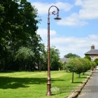 Antique Copper Victorian Lamp Post With Gothic Luminaire and Bracket
