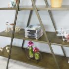 Antique Gold Finish Triangular Three Tier Shelf Close Up