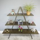Antique Gold Finish Triangular Three Tier Shelf In Situ