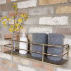 Antique Gold Industrial Style Bathroom Shelf