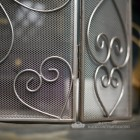 Antique Pewter Heart Design Three Fold Fire Guard Close Up