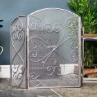 Antique Pewter Heart Design Three Fold Fireguard