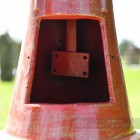 Antique Red Cast Iron Lamp Post With Inspection Chamber