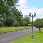 Antique Silver Double Head Lamp Post  in Situ on a Driveway