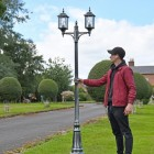 Antique Silver Double Head Lamp Post to Scale
