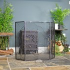 Antique Silver Traditional Three Fold Fire Guard