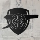 """Arsenal Cannon"" Wall Art on a Rustic Wall"