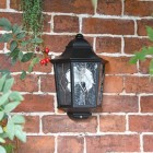 """Avebury Manor"" Traditional Half Lantern Wall Light in Situ on a Garden Wall"