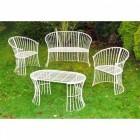 """Avery"" Cream Garden Furniture Set in Situ in the Garden"