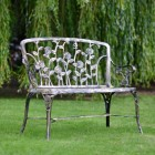 Back Of Black and Bronze Rose Design Bench