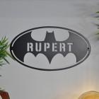 'Batman' Personalised Wall Art on a Grey Wall