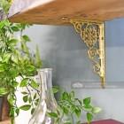 Interior shelving solution - brass shelf bracket