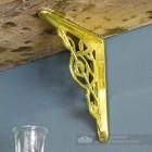 Small Trellis Brass Shelf Brackets