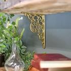 Beautiful unusual interior brass shelf bracket