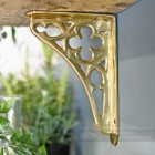 Side view of solid brass coalbrookdale shelf bracket