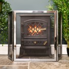 Modern Polished Steel 2 fold fireguard in living room