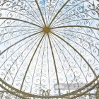 """View of the Ceiling of the """"The Royal Alexandria"""" Cream Wrought Iron Gazebo"""