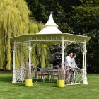 old English style bandstand wih intictae scroll work