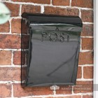 Black contemporary wall mounted post box
