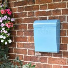 """Spring Skies"" Light Blue Contemporary Post Box"