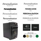 Rear opening post box personalisation options