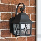Exterior wall lantern with mottled glass