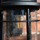 Close up of bubbled glass effect on porch light