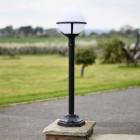Modern driveway lighting, round lantern black lamp post